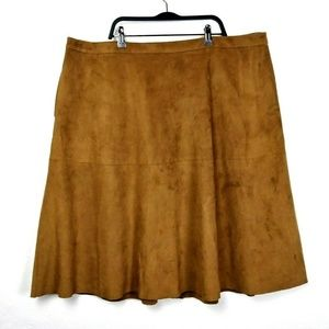 Vince Camuto Plus Brown Faux Suede Skirt